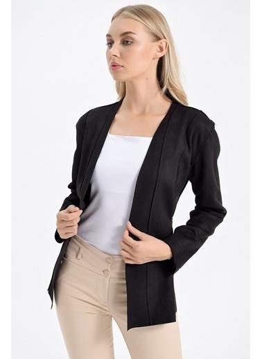 Jument Scuba Süet Anvelop Uzun Kol Bağcıklı Ceket Siyah
